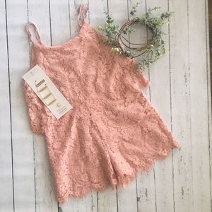 Dusty rose/ blush lace romper with necklace
